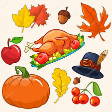 set of colorful icons for thanksgiving day pumpkin