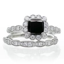 black diamond wedding sets 2 carat princess cut black diamond and diamond wedding ring set on