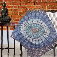 Throws For Sofa by Boho Quilted Cotton Throws For Sofa Blue Mandala U2013 Kraftdirect Inc