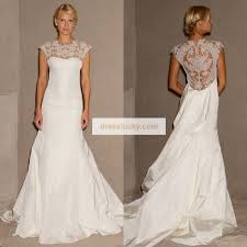 2013 new trends stunning sheer lace cover up back wedding dress