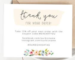 online thank you cards business thank you etsy