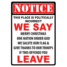 politically incorrect tin sign merry troops and fe