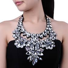 big choker necklace images Fashion hand nail white glass gems rhinestone flower new big bib jpg