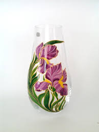 Crystal Vases For Centerpieces Mom Gift Hand Painted Flower Vase Living Room Decor Gift For