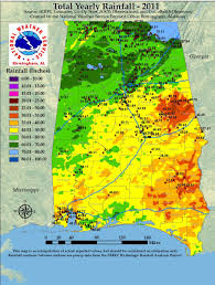 rainfall totals map annual rainfall totals for alabama 2011