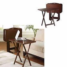 Folding Tray Table Set Tv Dinner Tray Ebay