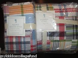 Pottery Barn Madras Curtains Nwt Pottery Barn Madras Navy Quilt Standard Sham