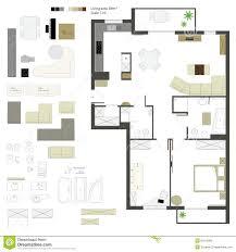 furniture linear vector symbols floor plan icons stock vector