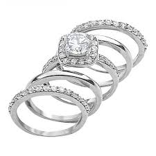 silver rings set images 5 piece sterling silver ring set stoneberry