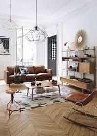 canap marron clair idee deco salon classique canape en cuir marron sol en parquet