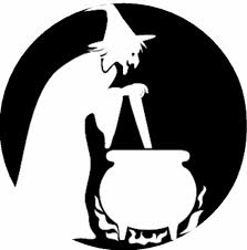 scary pumpkin stencils witch with cauldron playsational automne