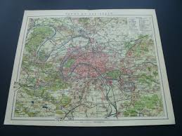Versailles France Map by Antique Map Of Paris 1910 Old Print About Parijs Area France St