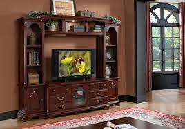 cherry wood tv stands cabinets acme 91110 4 pc hercules cherry finish wood slim profile modern tv