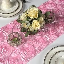 pink rosette table runner candy pink satin rosette table runner floratouch