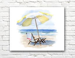 Beach Umbrella And Chair Beach Chair Umbrella Art Print Ocean Watercolor Painting