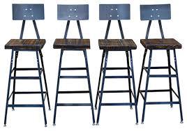 elegant reclaimed wood bar stools steel back industrial at