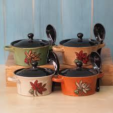 fourniture de cuisine rétro style en céramique soupière avec couvercle et cuillère