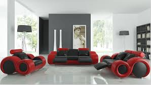 Modern Sofa Set With Genuine Leather Sofa Set Recliner Sofas In - Red leather living room set