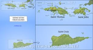 Map Of The Caribbean Islands by United States Virgin Islands Map Geographical Features Of United