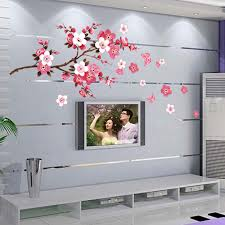 cherry home decor cherry blossom wall stickers waterproof tv background wallpaper