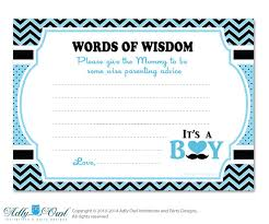 words of wisdom cards blue boy mustache words of wisdom advice card for baby shower