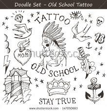 new school tattoo drawings black and white big set of hand drawn old school tattoo flashes illustration
