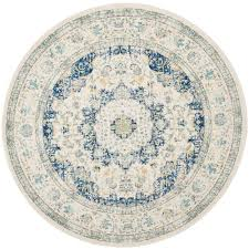 6 X 6 Round Area Rugs by Safavieh Evoke Ivory Blue 6 Ft 7 In X 6 Ft 7 In Round Area Rug