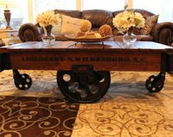 Car Wheel Coffee Table by Vintage Restored Lineberry Factory Cart Daisy Wheel Coffee