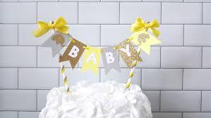 yellow gray elephant baby shower cake topper yellow gray baby