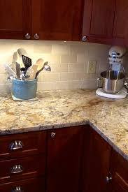 Backsplash Neutrals Kitchen Decor Amazing Cherry Kitchen Cabinets With Gray Wall And Quartz Countertops