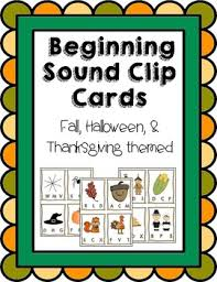 fall thanksgiving beginning sounds clip cards tpt