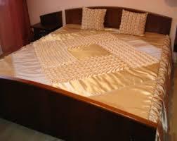 Beige Coverlet Queen Bedspread Smocked Handmade Beige Coverlet
