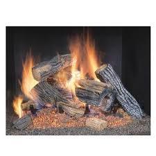 gas fireplace logs 18 log set vented 2 burner insert flame natural
