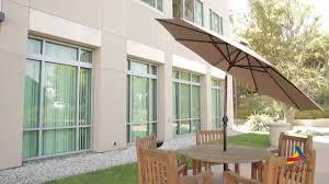 aosom outsunny outdoor aluminum solar led light patio shade