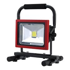 work zone rechargeable led work light globe electric 20 watt black red integrated led industrial work