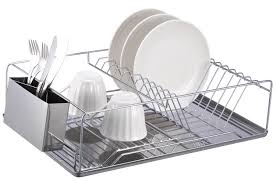 modern kitchen utensil holder amazon com home basics chrome dish rack with stainless steel
