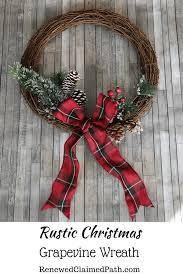 rustic christmas rustic christmas grapevine wreath easy diy renewed claimed path