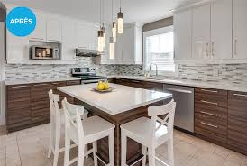cuisine designe réalisation avant après refacing d armoires de cuisine résultats