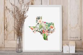 texas printable art print floral texas state print floral
