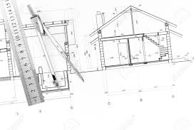 architectural blueprints of new homes ruler and drawing compass