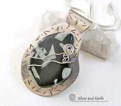 stone silver necklace images Chinese writing stone sterling silver necklace unique stone jpg