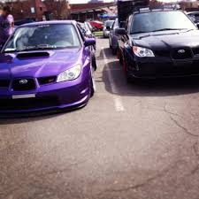 subaru wrx slammed sick slammed purple sti next to my 2 5i at a local car show subaru