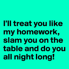 I     ll treat you like my homework  slam you on the table and do