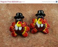 on sale glass lwork thanksgiving turkeys by carolynsbeads