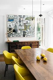 Yellow Upholstered Chairs Design Ideas Eclectic Yellow Dining Room Decor With Modern Antique Buffet