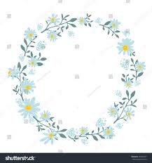 round wedding invitations hand drawn spring wreath chamomile flowers stock vector 353448767