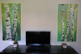 glimmercat painting birch trees on canvas tutorial and here s the finished birch painting with more light filtering through the trees mmmm this light green puts you in the mind for springtime doesn t it