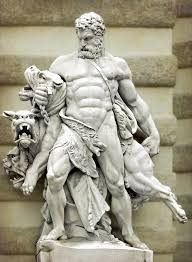 statue with hercules and cerberus and this is me with that awful dog i told