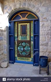 tzfat a blue door at the old city of tzfat israel stock photo royalty