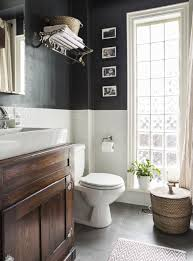 awesome bathroom effect black and white wall with dark floor and